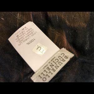 Brunello Cucinelli Accessories - Brunello Cucinelli black brown flowers linen scarf